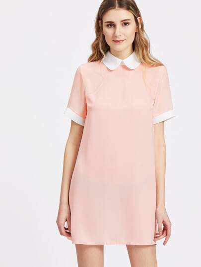 Contrast Peter Pan Collar And Cuff Shift Dress
