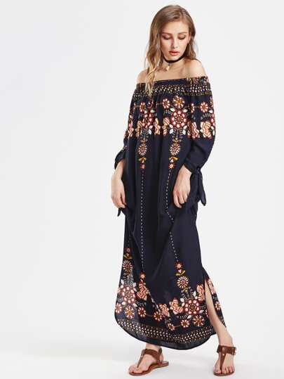 Flower Print Tie Sleeve Curved Hem Bardot Dress