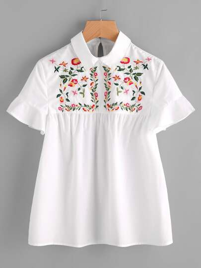 Embroidered Yoke Buttoned Keyhole Frill Sleeve Smock Top
