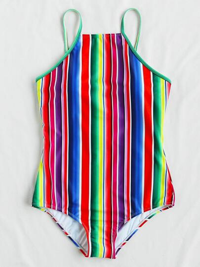 Roman Stripe Print Swimsuit
