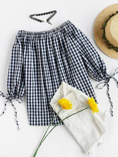 Drawstring Lantern Sleeve Off Shoulder Gingham Top