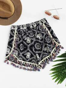 Elephant Print Fringe Trim Shorts
