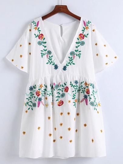 Bell Sleeve Flower Embroidery Dress