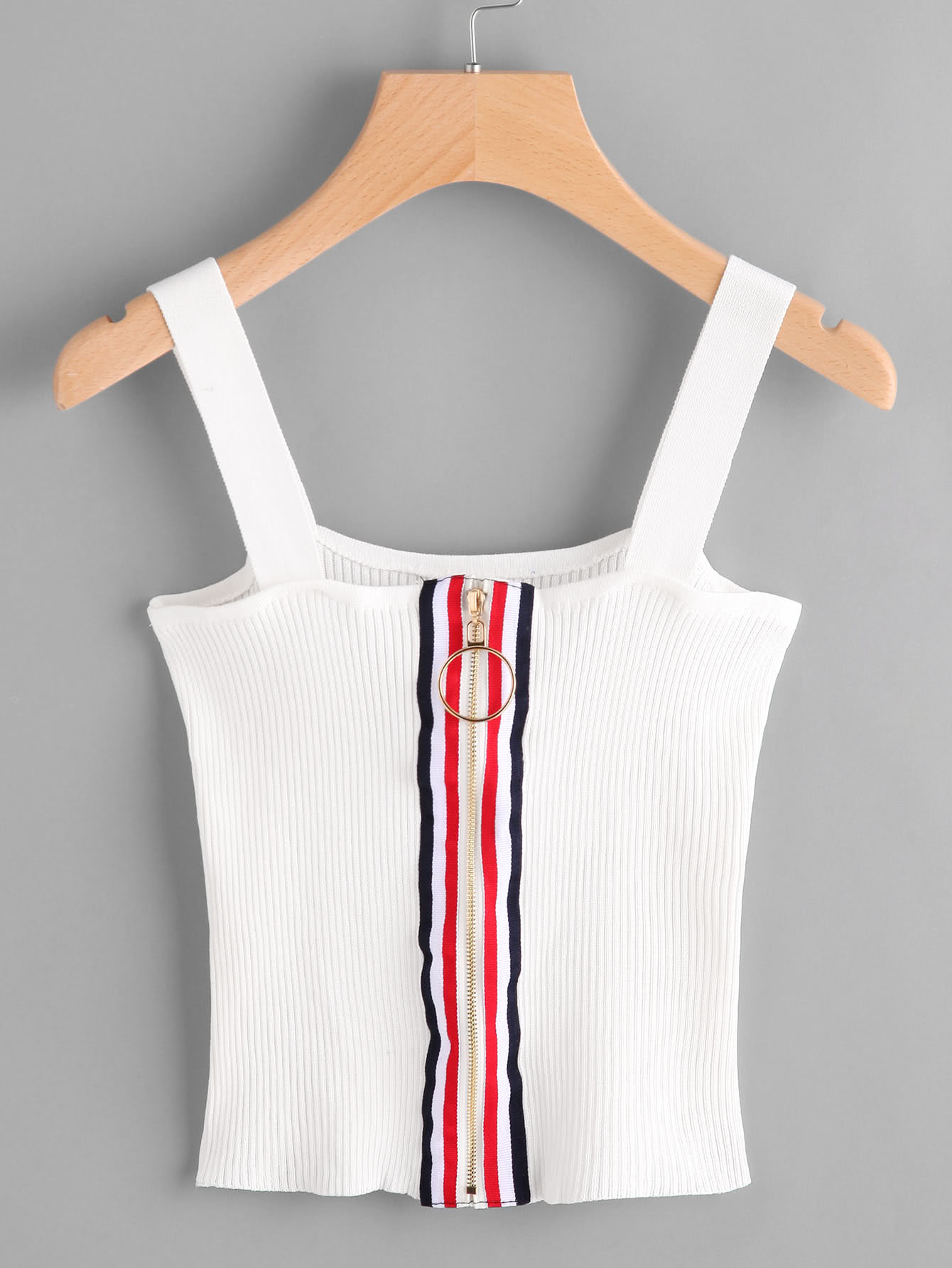 Contrast Stripe Ring Zip Up Ribbed Cami Top ribbed zip up jacquard cardigan