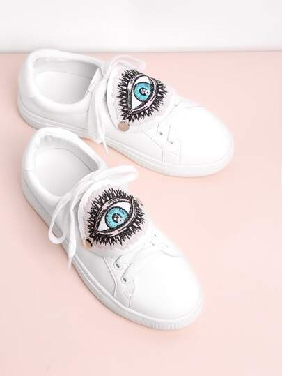 Eye Embroidery Lace Up Low Top Sneakers