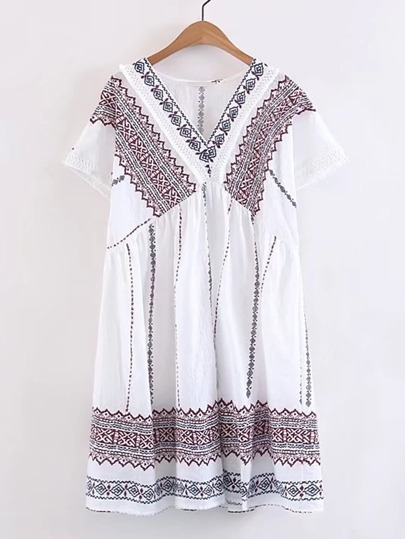 Tassel Lace Trim Ornate Print Smock Dress