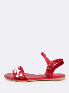 Open Toe Velvet Pearl Sandals BURGUNDY