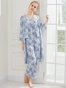 Daisy Print Cami Pajama Set With Robe