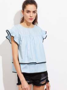 Contrast Binding Ruffle Cap Sleeve Two Layer Top