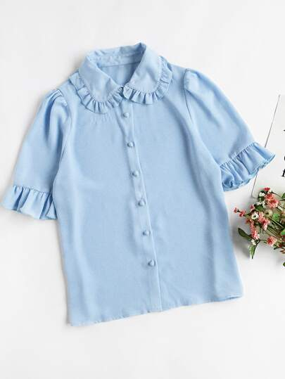 Frill Collar And Sleeve Blouse