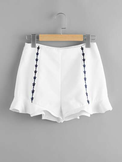Ruffle Hem Embroidered Paneled Shorts