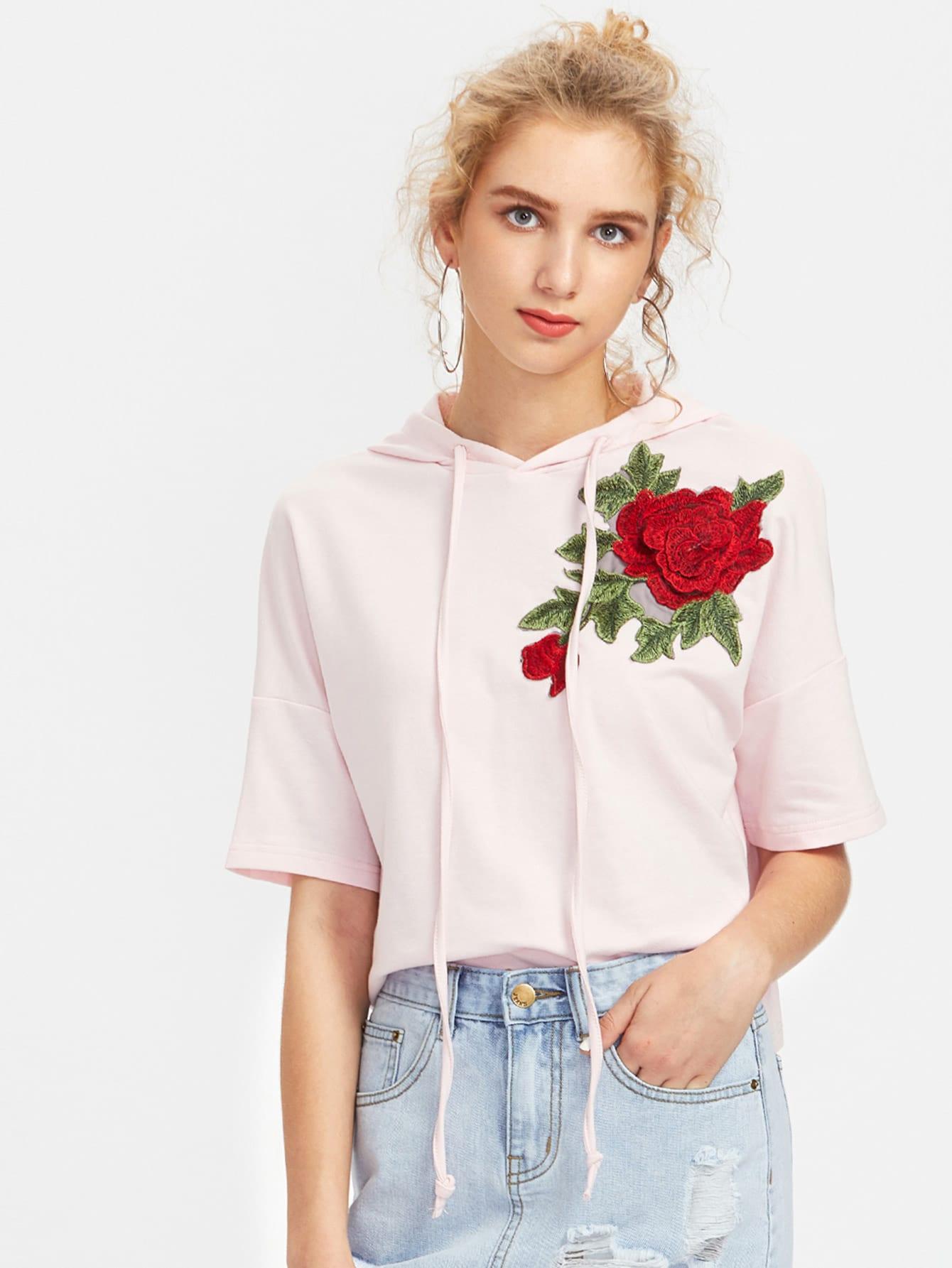 3D Rose Patch Stepped Hem Hooded T-shirt tee170606703