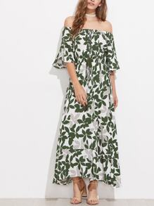 Tasseled Tie Fluted Sleeve Bardot Dress