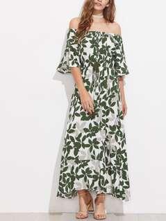 Tasseled Tie Fluted Sleeve Bardot Dress