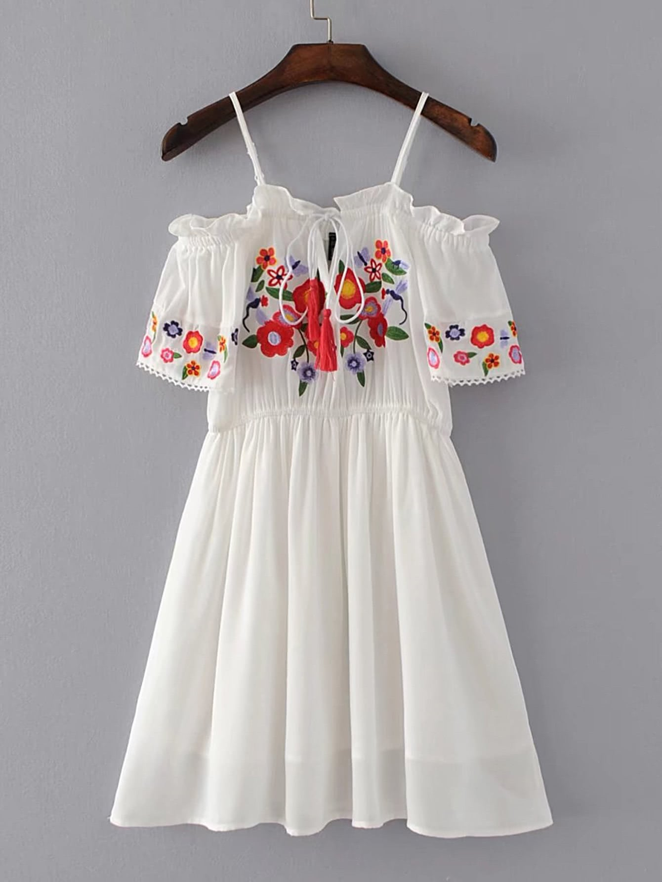 Фото Cold Shoulder Tassel Tie Frill Trim Embroidery Dress. Купить с доставкой