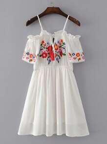 Cold Shoulder Tassel Tie Frill Trim Embroidery Dress