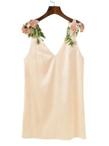 Double V Neck Flower Applique Dress