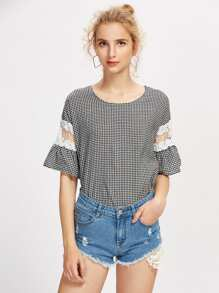 Embroidery Mesh Panel Gingham Blouse