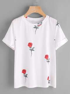 Cuffed Sleeve Rose Print T-shirt