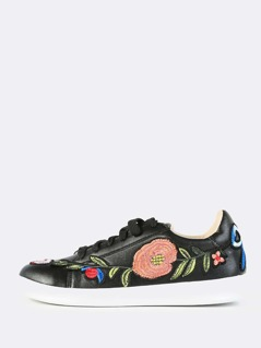 Embroidered Leather Sneakers BLACK