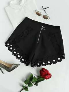 Exposed Zip Front Geo Crochet Trim Shorts