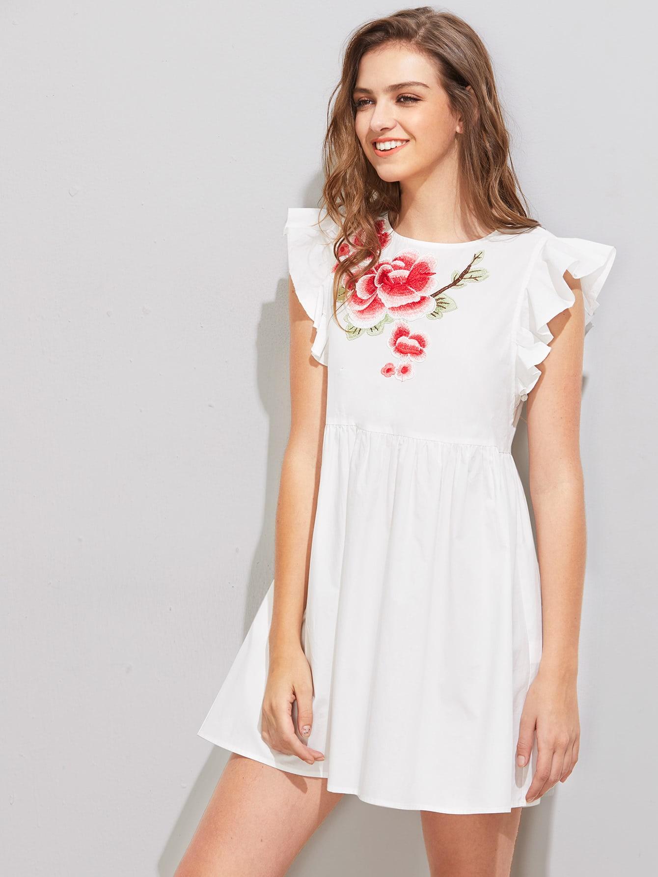 Фото Flower Patch Flutter Sleeve Smock Dress. Купить с доставкой