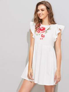 Flower Patch Flutter Sleeve Smock Dress