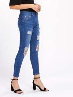 Bleach Wash Slashed Jeans