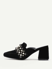 Faux Pearl Embellished Heeled Mules