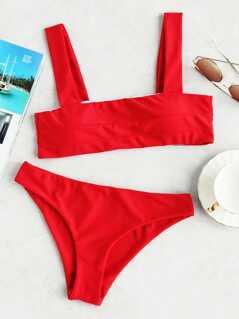 Double Strap Seam Top With Low Rise Bikini