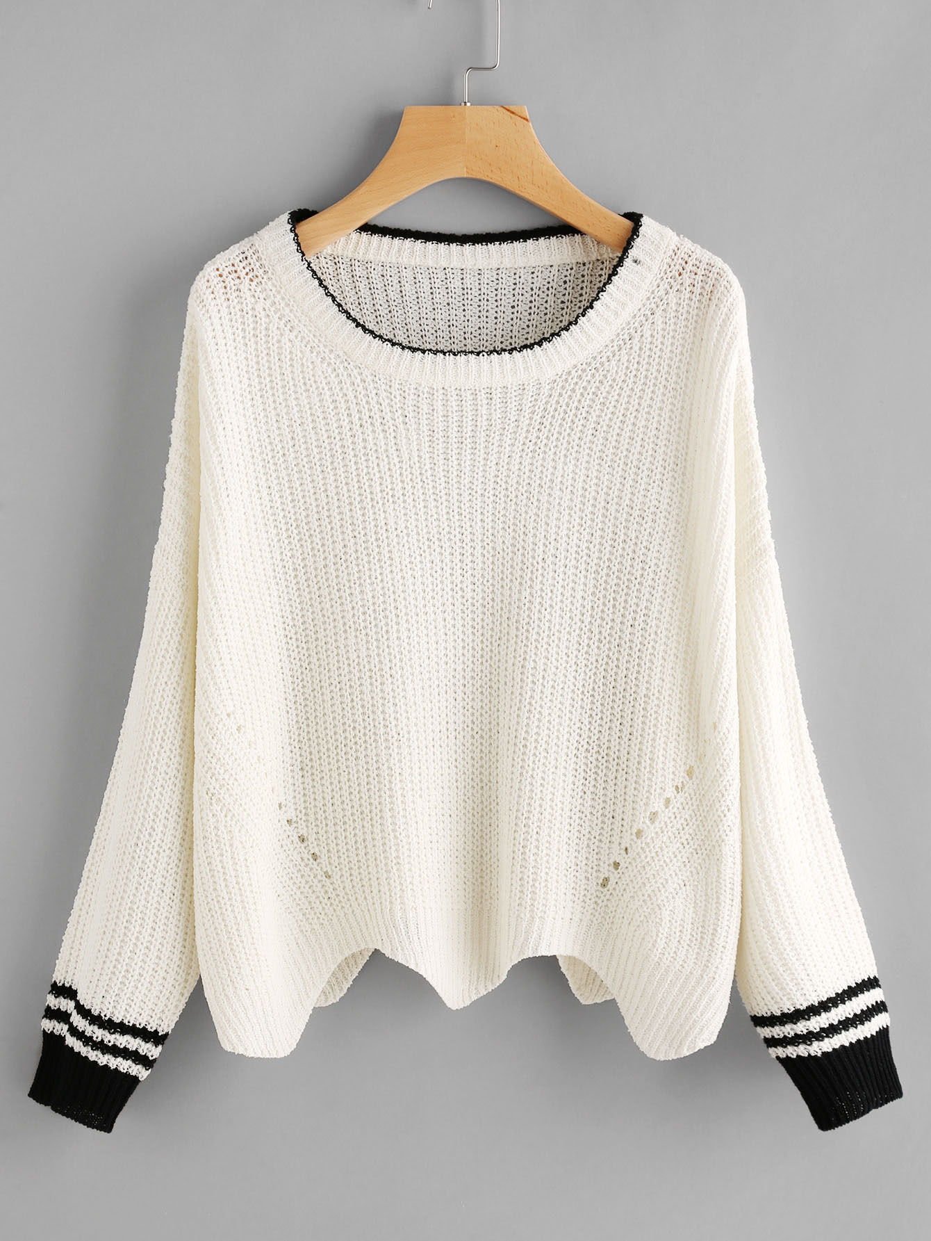 Eyelet Detail Contrast Striped Cuff Jumper