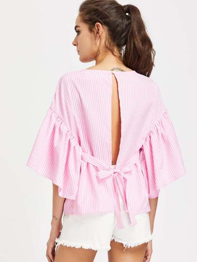 Self Tie Open Back Kimono Sleeve Striped Top