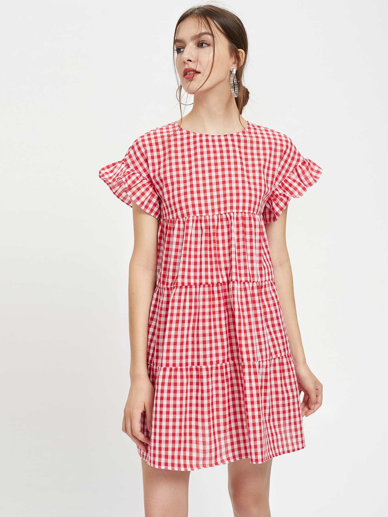 Фото Keyhole Back Frill Sleeve Tiered Dress. Купить с доставкой