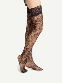 Lace Cuff Flower Pattern Over The Knee Socks