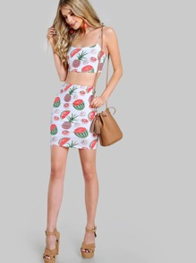 Allover Fruit Print Crop Cami And High Waist Skirt Set pictures