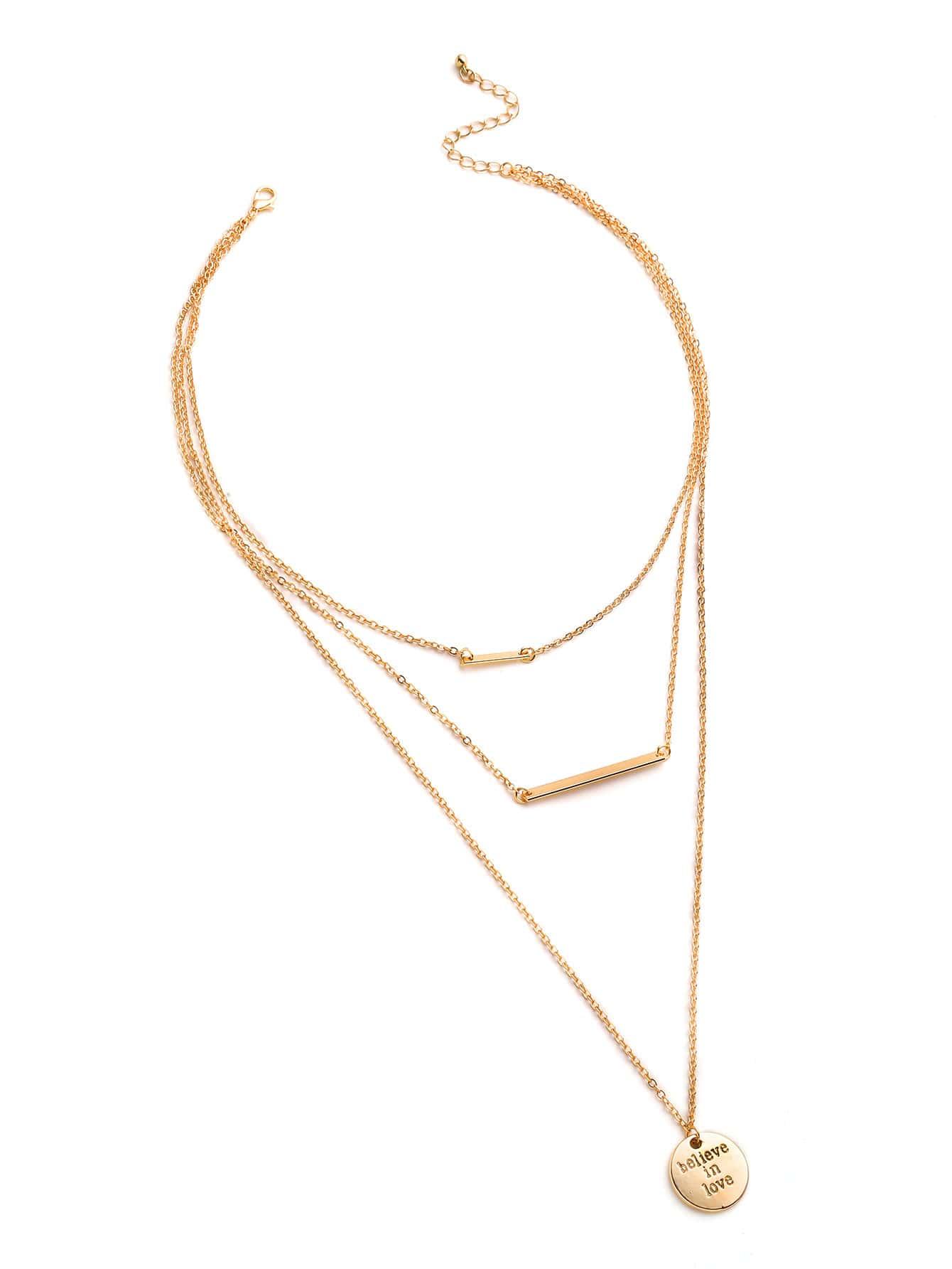 Фото Sequin And Bar Pendant Plated Layered Necklace. Купить с доставкой