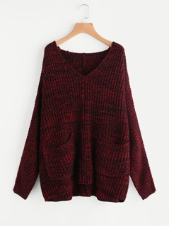Marled Knit Patch Pocket Boxy Jumper