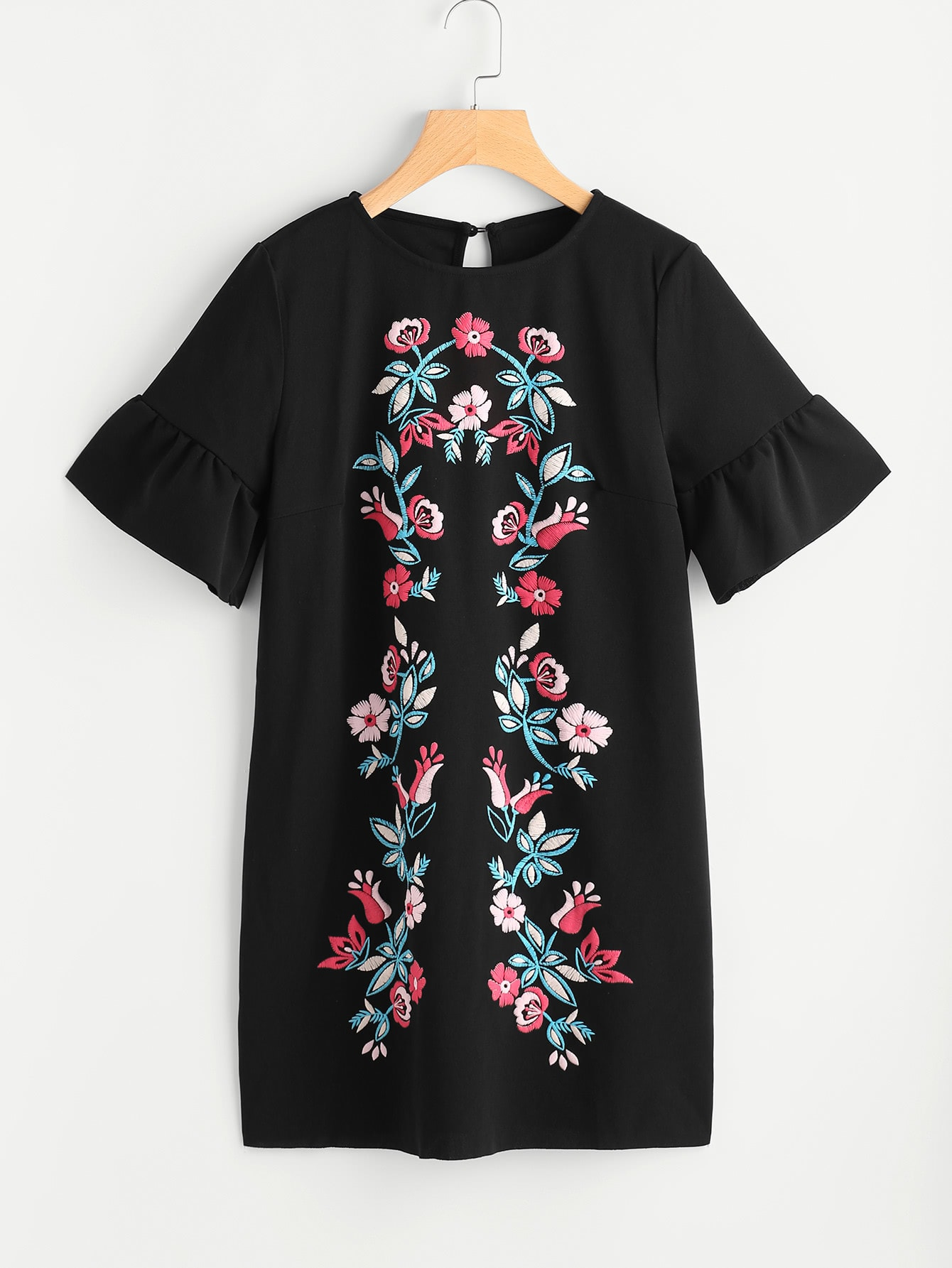 Symmetric Flower Embroidered Fluted Sleeve Keyhole Back Dress epp petrone meestest lihtsalt