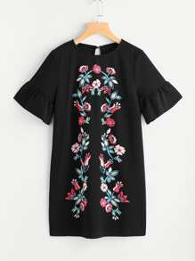 Symmetric Flower Embroidered Fluted Sleeve Keyhole Back Dress