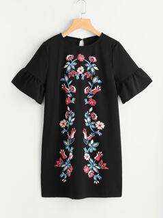 Symmetric Flower Embroidered Fluted Sleeve Keyhole Back Dress