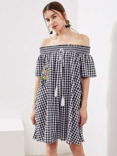 Tassel Tie Smocked Off Shoulder Checkered Trapeze Dress