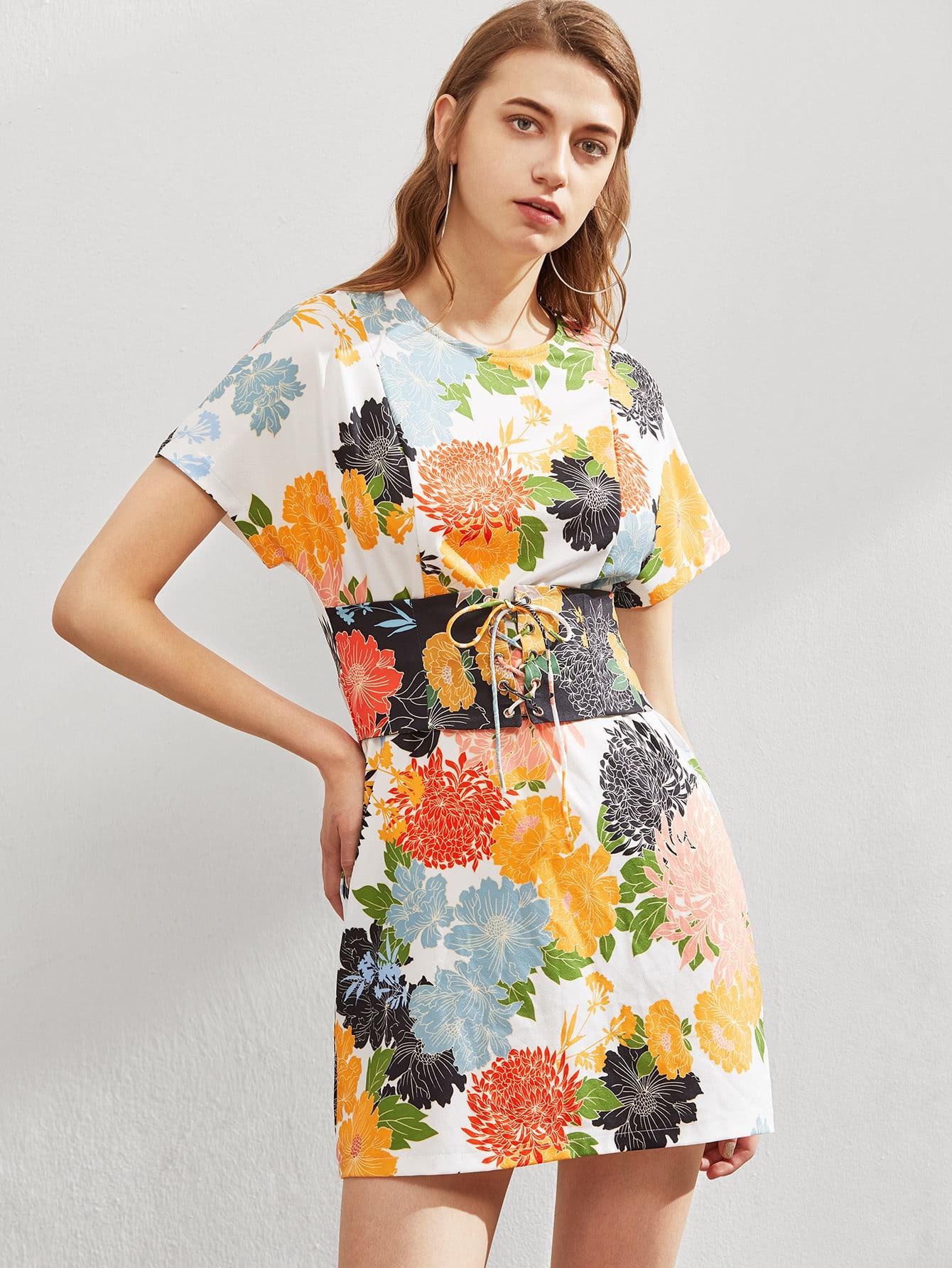 Фото Lace Up Corset Detail Paneled Floral Dress. Купить с доставкой