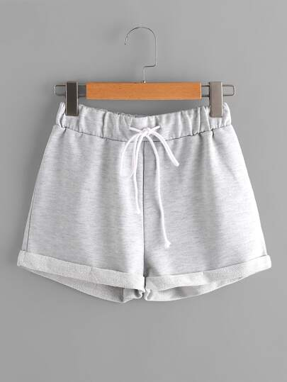 Heathered Knit Cuffed Shorts