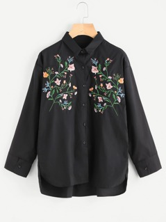Sharp Collar Flower Embroided Blouse
