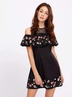 Lace Yoke Open Shoulder Embroidered Flounce Dress