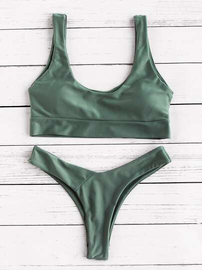 Scoop Neck Bikini Set