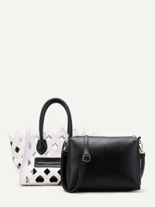 Two Tone Hollow Out PU Combination Bag 2pcs
