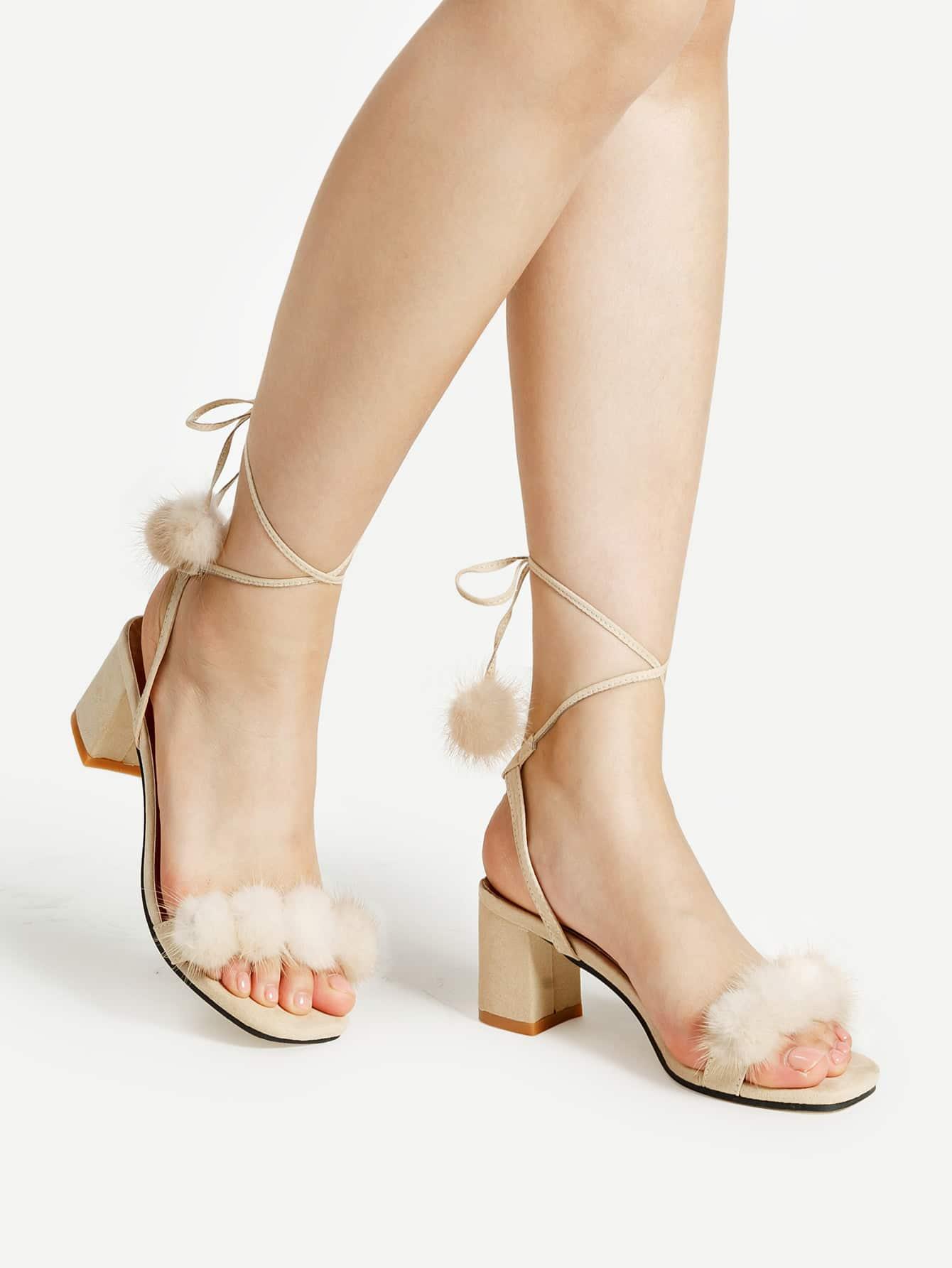 Фото Pom Pom Lace Up Block Heeled Sandals. Купить с доставкой