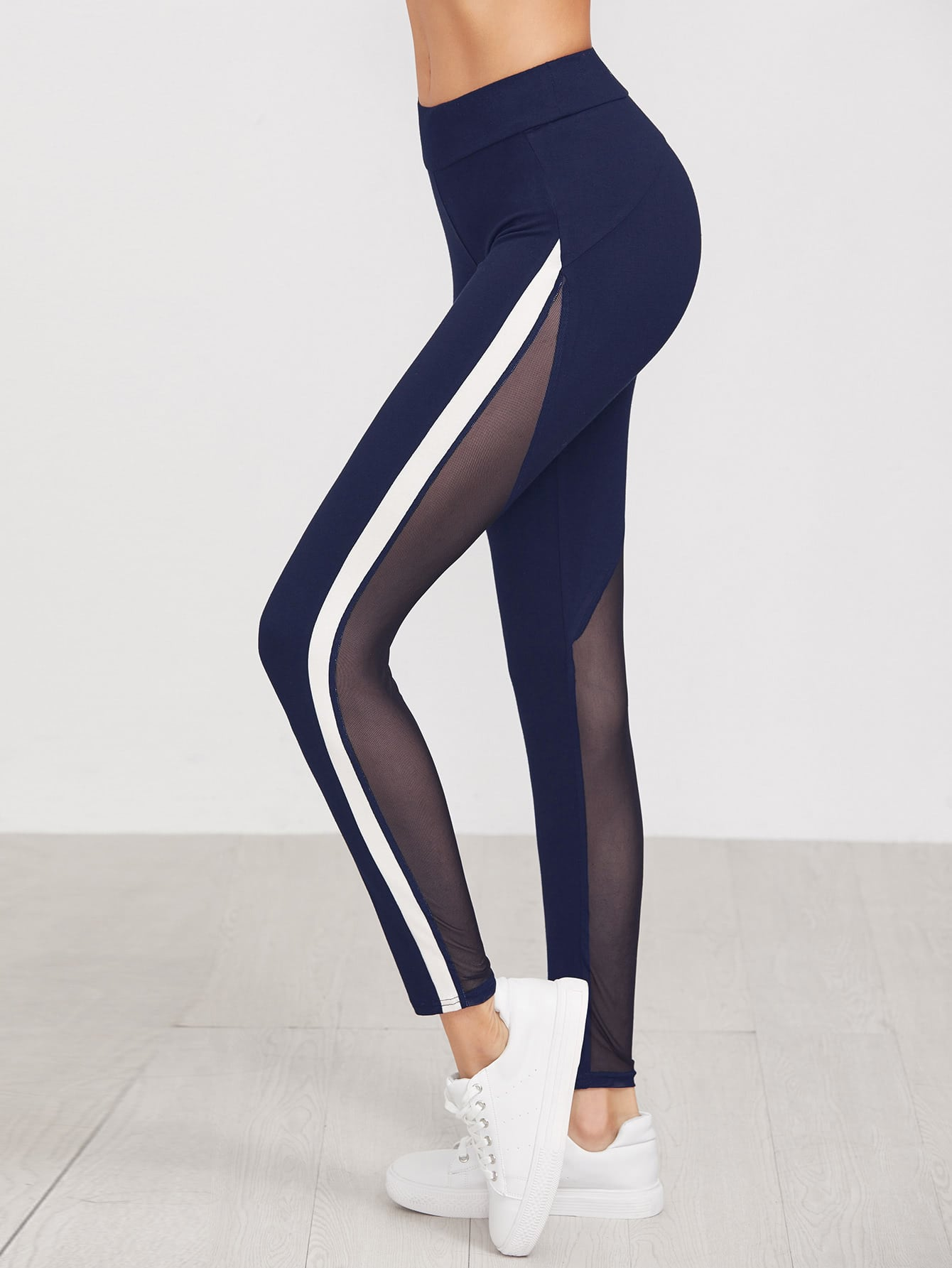 Striped Side Mesh Panel Leggings side panel mesh insert camo leggings