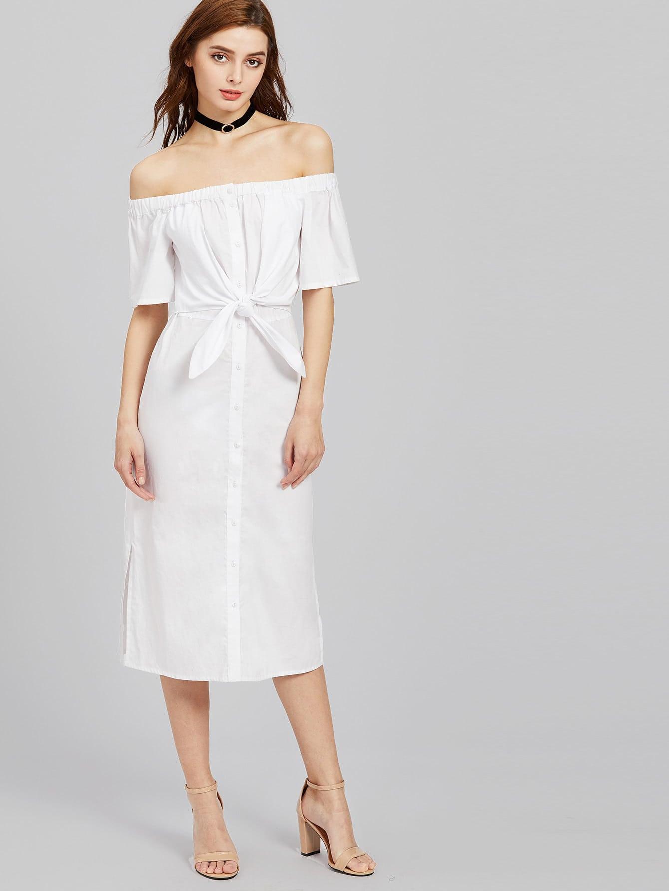 Фото Knot Front Open Back Button Placket Slit Dress. Купить с доставкой